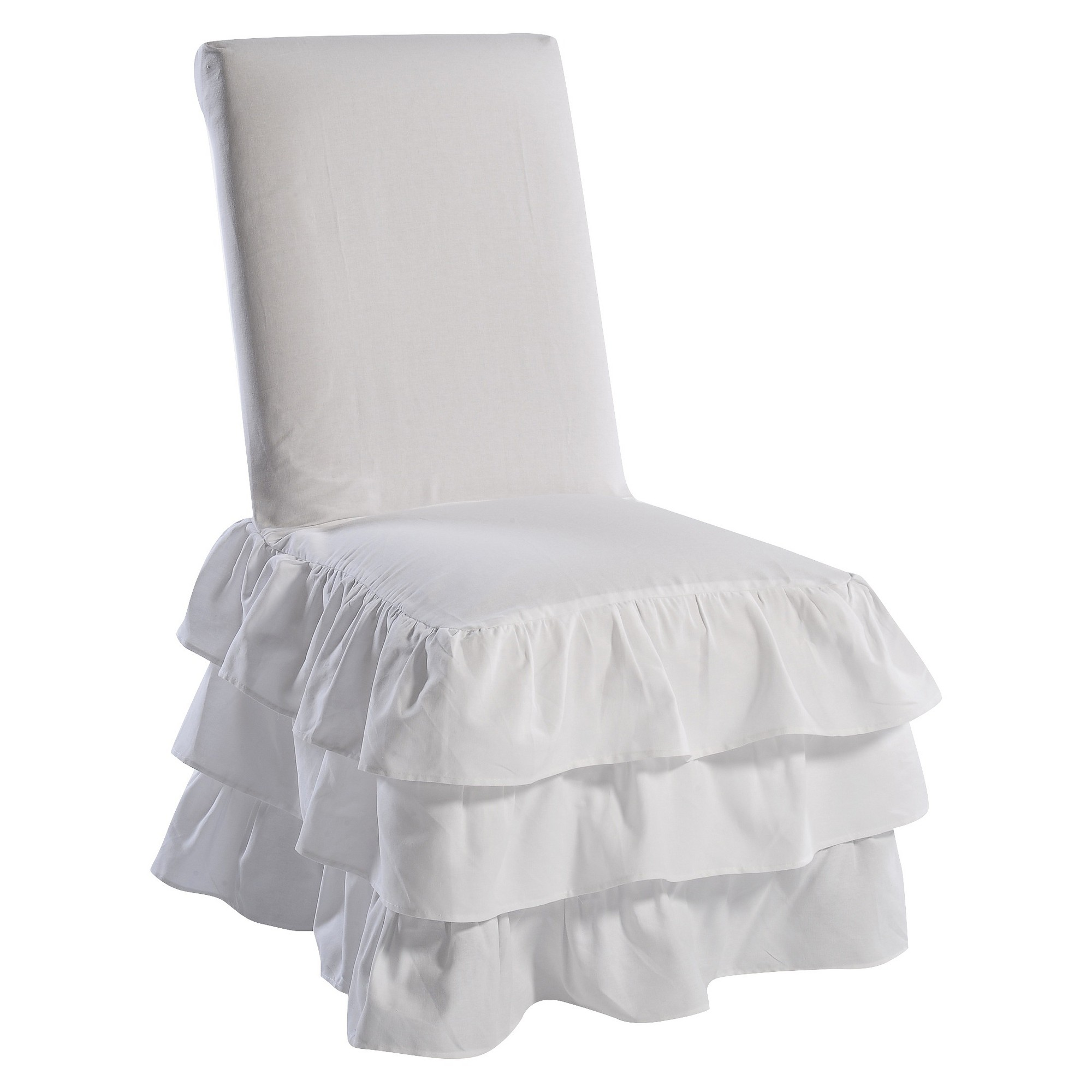 White Ruffle 3Tiered Dining Chair Slipcover Slipcovers