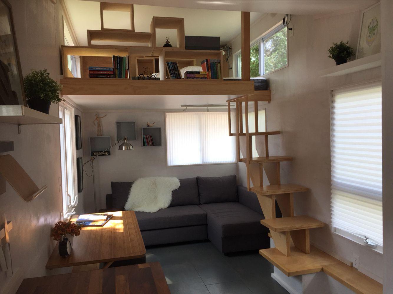 Modern Tiny House On Wheels Loft And Living Room