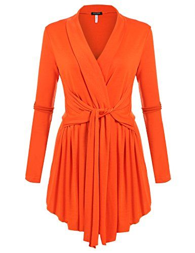 04f7bff2159 ACEVOG Womens Long Sleeve Open Front Lightweight Drape Soft Cardigan Orange  XLarge     Check this awesome product by going to the link at the image.
