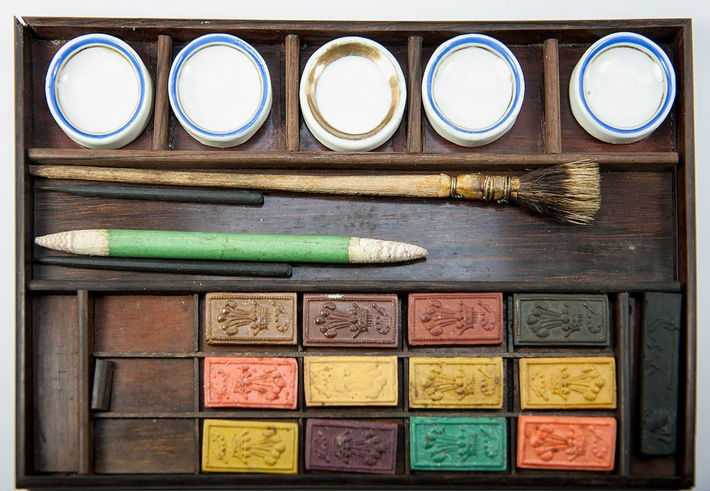 Antique French Water Color Paint Set Wood Box Chest Aquarelle