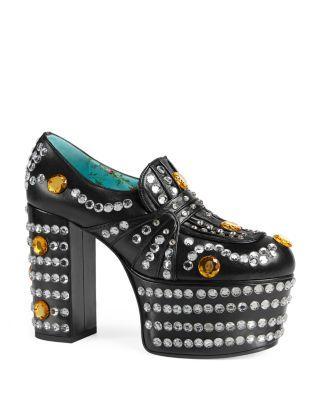 b99395535be GUCCI Amilina Embellished Platform Loafers.  gucci  shoes  flats ...