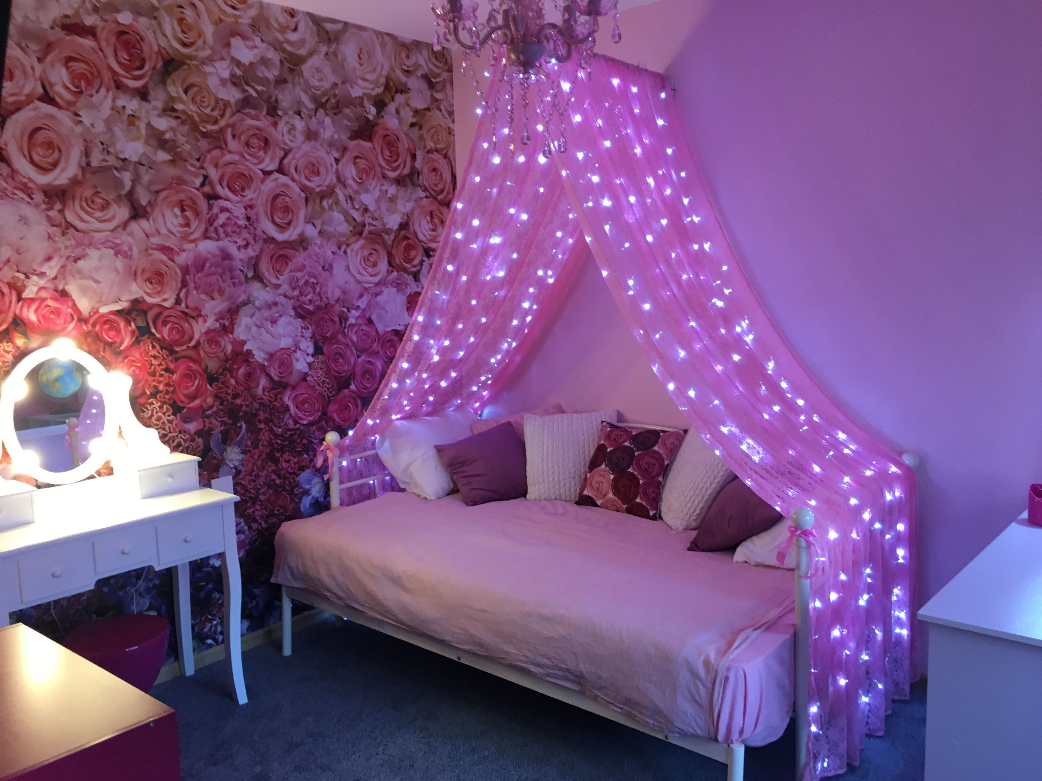 - Girl Canopy Bed Idea With Lights Girls Bed Canopy, Girls Canopy