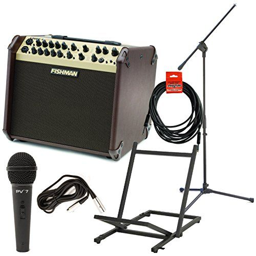 Fishman Prolbx600 Loudbox Artist Acoustic Guitar Amp Wamp Stand Microphone With Cable Mic Stand And Instrument Cable Acoustic Guitar Amp Stand Mic Guitar Amp