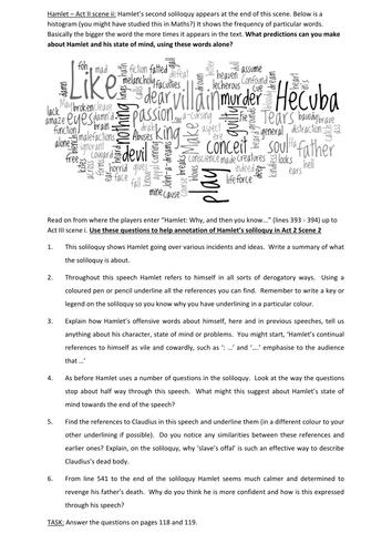FREE Hamlet worksheet on Act II, Scene II - the soliloquy | High ...