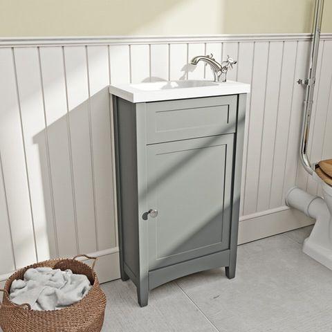 The Bath Co Camberley Satin Grey Cloakroom Floorstanding Vanity Unit And Basin 460mm Vanity Units Cloakroom Vanity Unit Bathroom Sink Units
