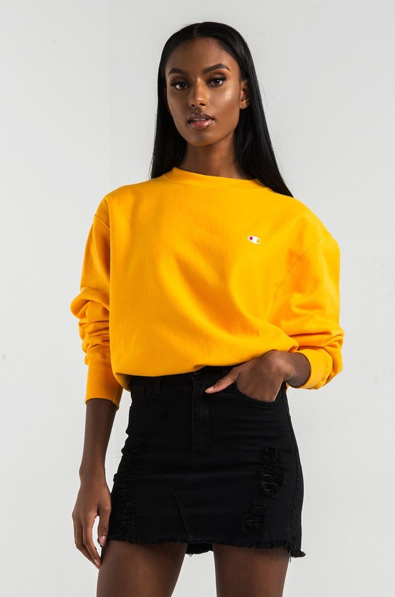 3ad74a8f5 Front View Champion Womens Reverse Weave Crew Sweatshirt in C Gold ...