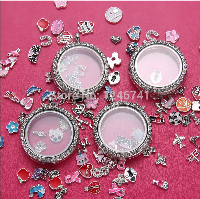 Free shipping 1pcs 30mm pendant Silver Round magnetic glass floating charm lockets Zinc Alloy+Rhinestone round lockets-in Pendants from Jewelry on Aliexpress.com | Alibaba Group