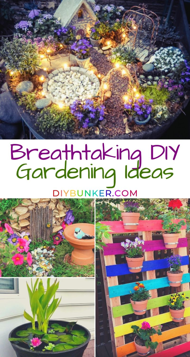 29 Breathtaking DIY Gardening Ideas for Your Yard is part of Diy garden projects, Garden projects, Diy garden, Diy landscaping, Pallets garden, Memorial garden - These 29 gardening ideas for your yard are perfect for budgets  Try out flower beds, raised gardens, vegetable and fruits trees, and fairy gardens