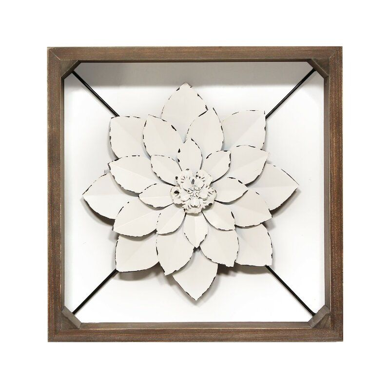 Framed Metal Flower Wall Decor In 2020 Metal Flower Wall Decor Stratton Home Decor Flower Wall Decor