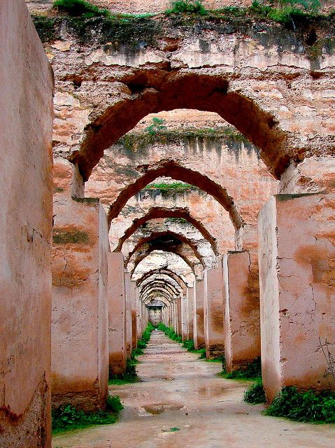 UNESCO World Heritage Site ~ Heri es-Souani, Morocco ~ ruins of huge cereal barns ordered to be built by Moulay Ismail for the new imperial city of Meknes. Photo: daniel.virella via Flickr
