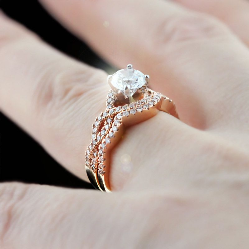 engagement sets rose gold infinity wedding set - Rose Gold Wedding Ring Set