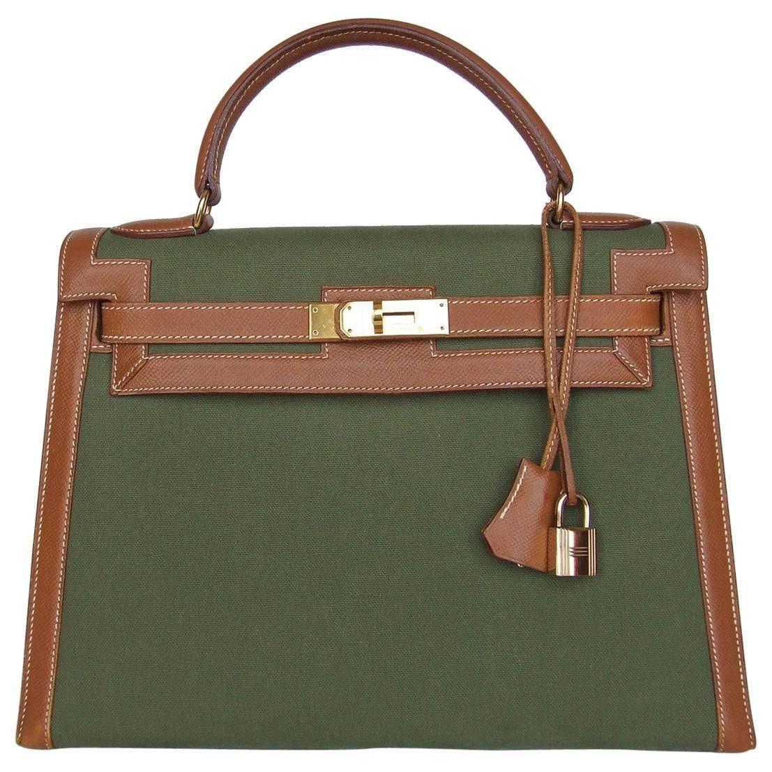 Hermes Kelly 32 Sellier Bag Bi Matiere Green Canvas Cognac Leather GHW Rare   af77c5c6c9b8d