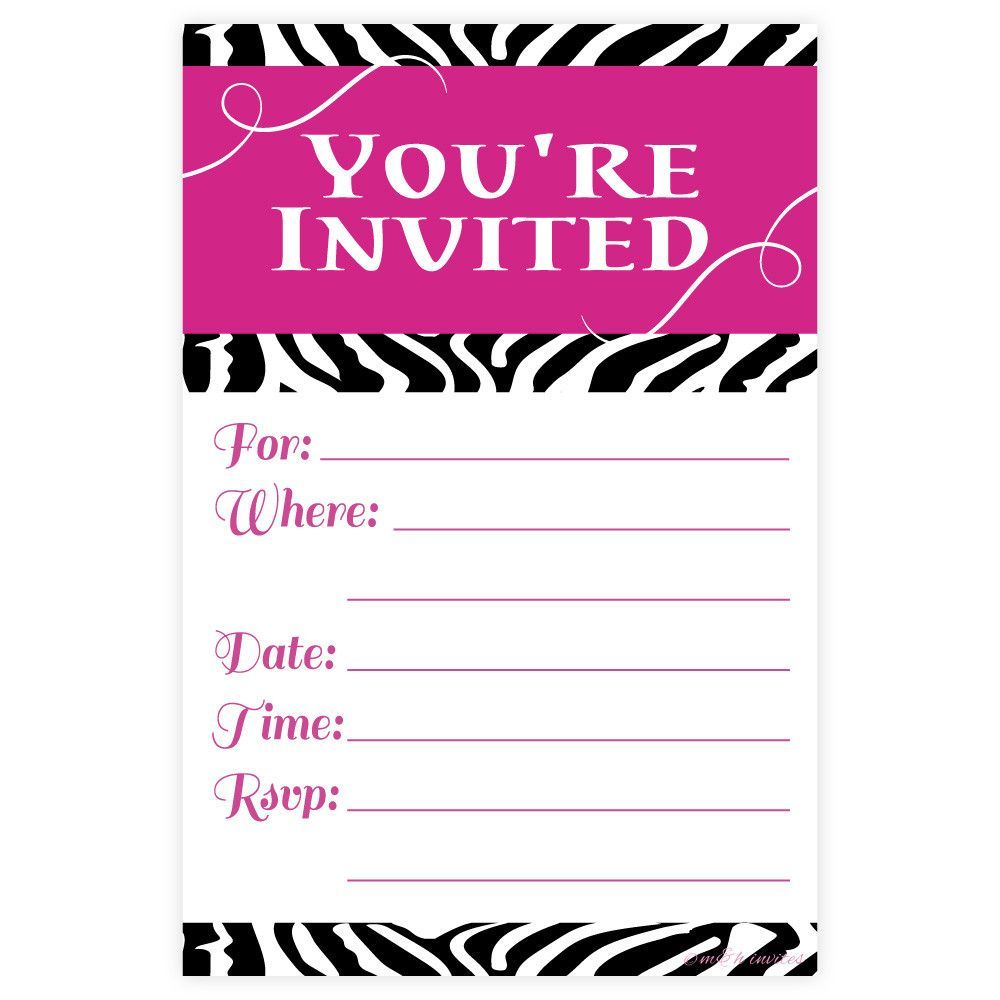 These fun and bright pink and zebra print fill in invitations are ...