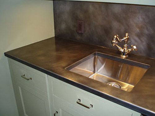 dark patina zinc countertop and back splash undermount sink cutout zinc countertops on kitchen zinc id=93862