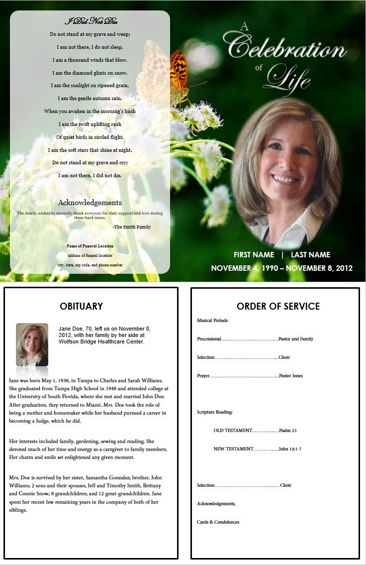 Funeral Program Template with Butterfly More Single Fold – Death Obituary Template