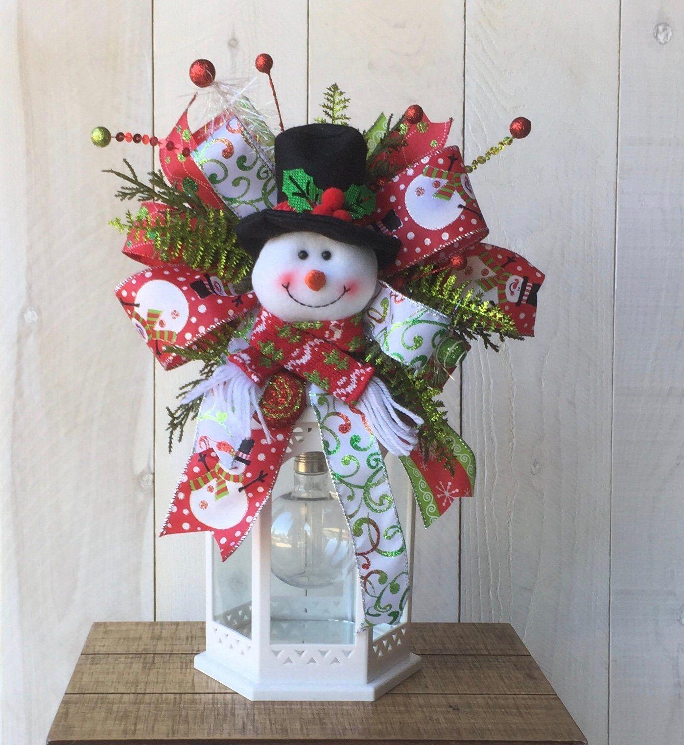 Christmas lantern swag Snowman lantern swag whimsical lantern swag