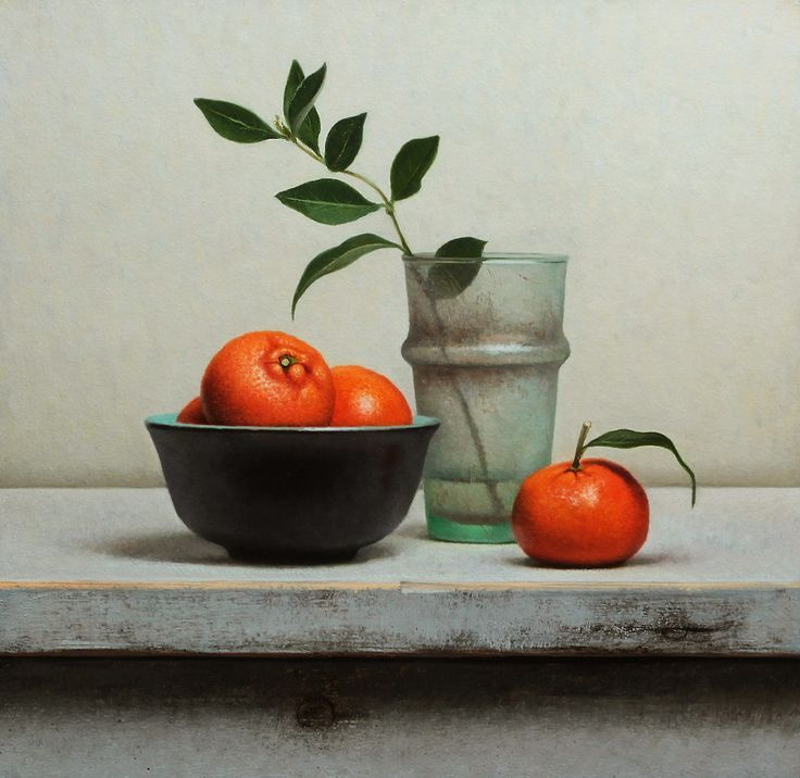 Jos Van Riswick | OIL | Still Life With Tangerines and Antique Glass