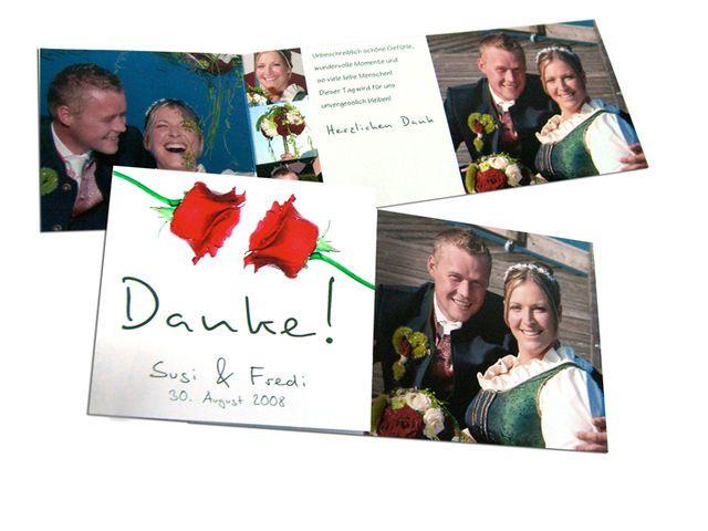 Foto-Dankeskarten mit moderner Rose in Rot