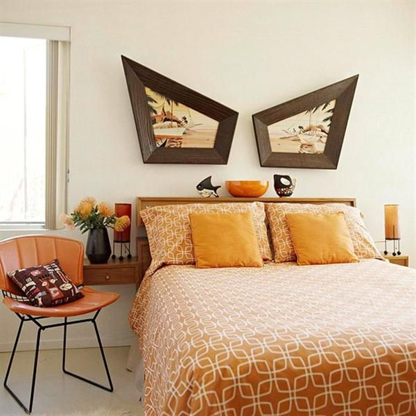 Vintage yellow and brown bedroom with carlo by hollywood frames also comfortable in orange color theme contains wooden mid rh pinterest