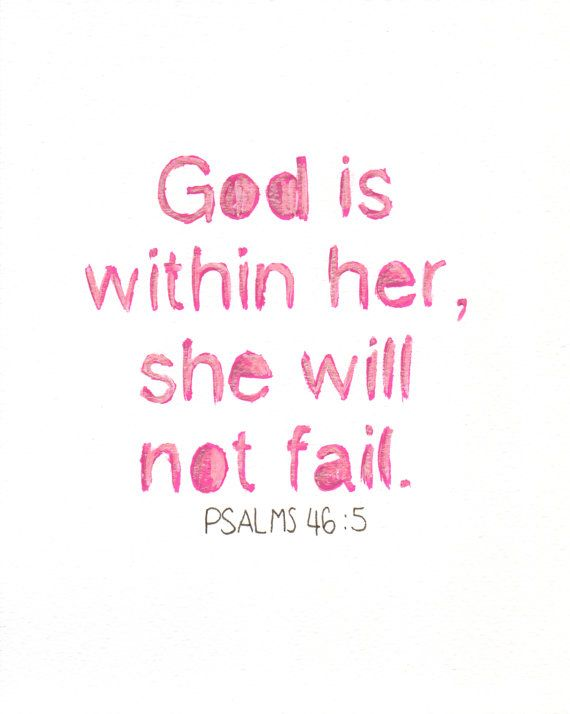 God Is Within Her Christian Wall Art Hand Lettered PRINT Of Stunning God Quote