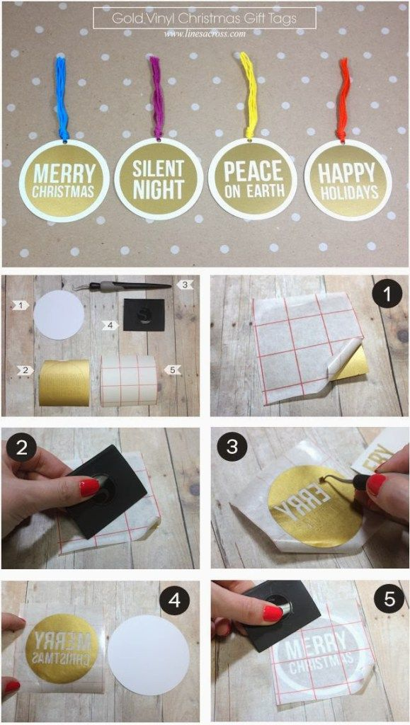 Gold Vinyl Christmas Gift Tags - Lines Across