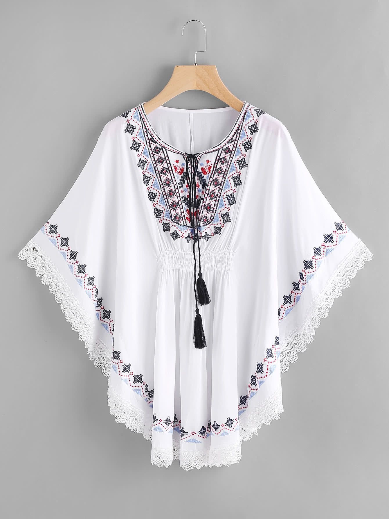 d32192a9d61021 Fabric  Fabric has no stretch Season  Summer Type  Kimono Pattern Type   Embroidery Sleeve Length  Three Quarter Length Sleeve Color  White Dresses  Length  ...