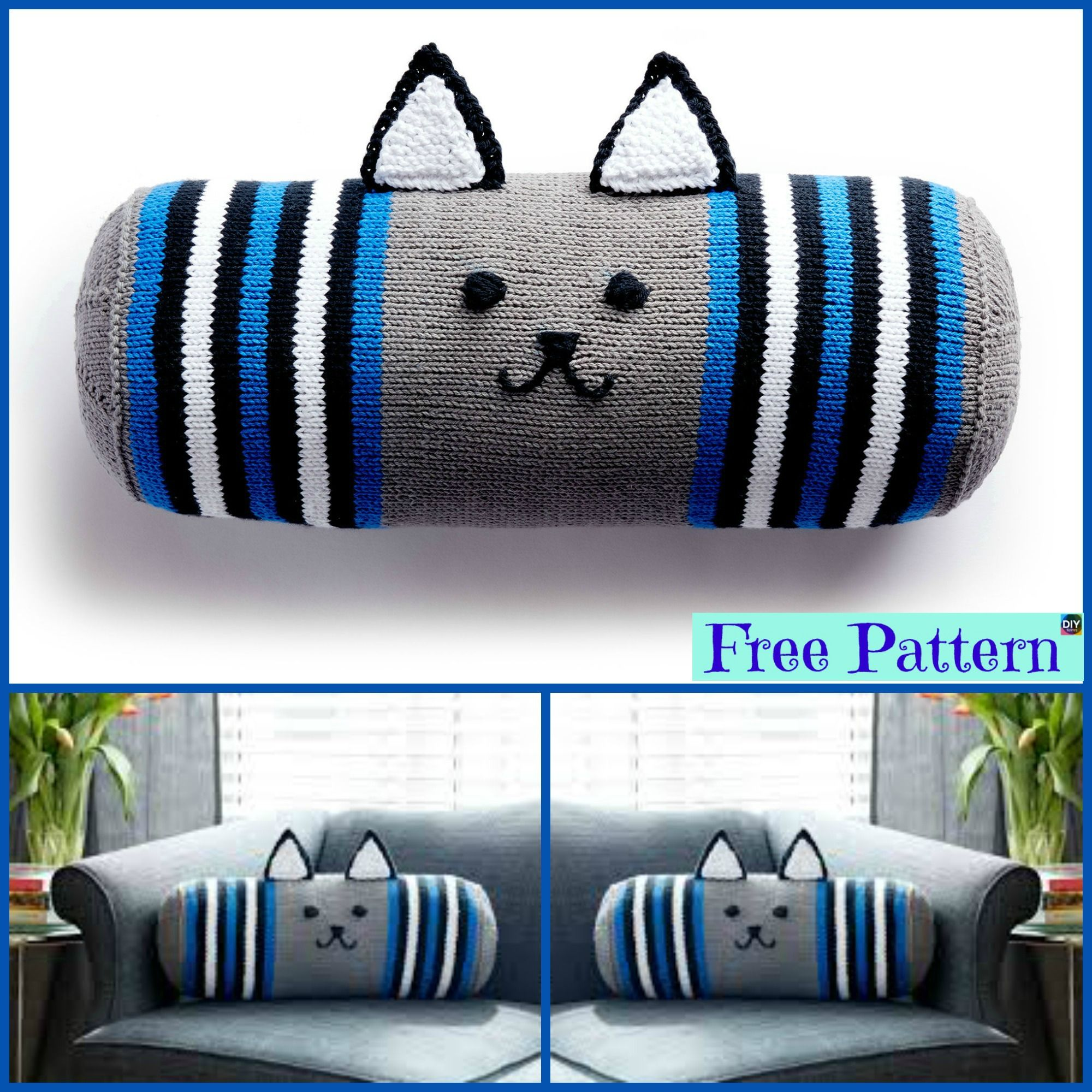 free cat cushion cover to knit # 21