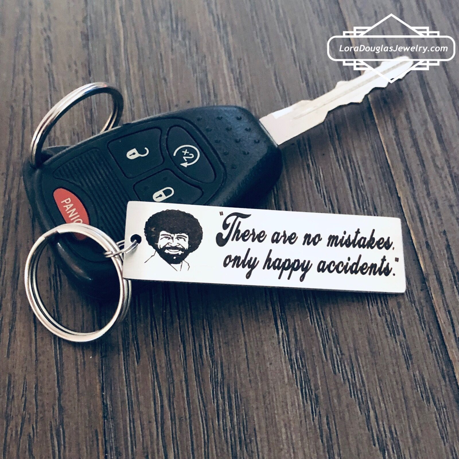 Bob Ross Inspired Keychain, There Are No Mistakes Only Happy