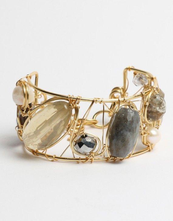 Pulseras brazalete gems cm brazalete ancho tejido con - Alambre de cobre ...