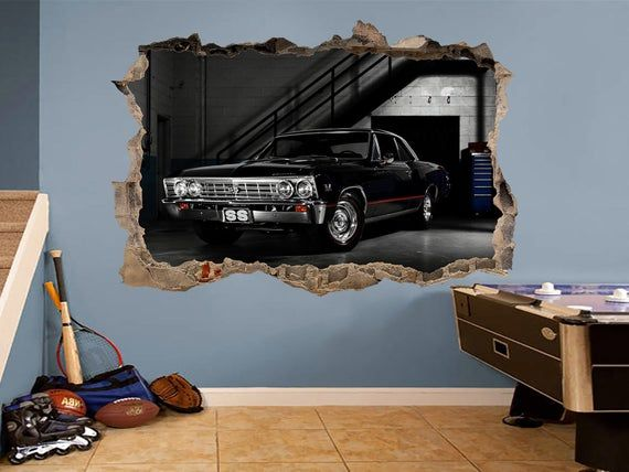 Vinyl sticker 3d wall decal Chevrolet Impala SS Classic car Garage wall decal 3d wall art impala 3d print Garage Vintage car decor Old car