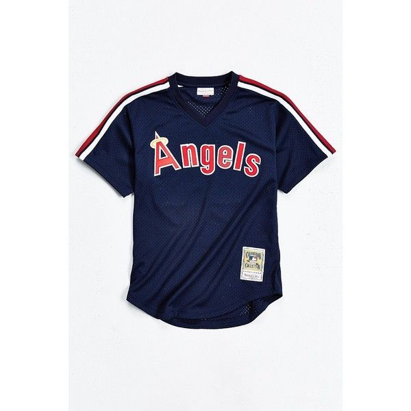 60e92a83b Mitchell & Ness Angels Reggie Jackson Baseball Tee ($80) ❤ liked on  Polyvore featuring men's fashion and men's clothing