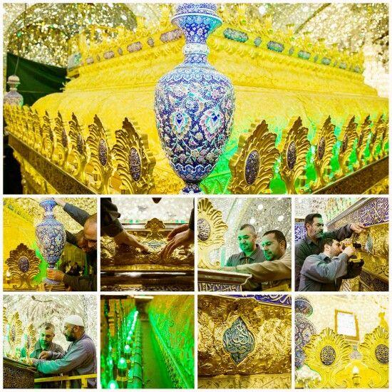 [ 7 Rajab 1437 ]  اللّمساتُ الأخيرة للشبّاك الجديد لضريح أبي الفضل العبّاس(عليه السلام)  Peace Be Upon Ya Abal Fadhlil Abbas ❤
