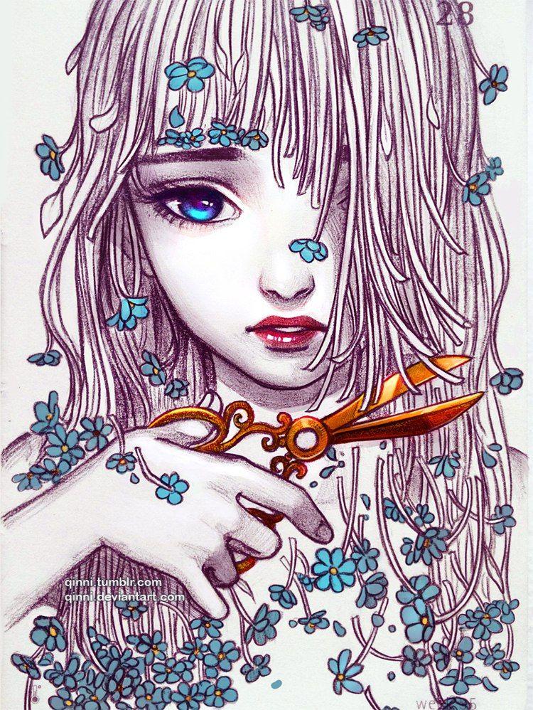 Картинки арт для срисовки девушки