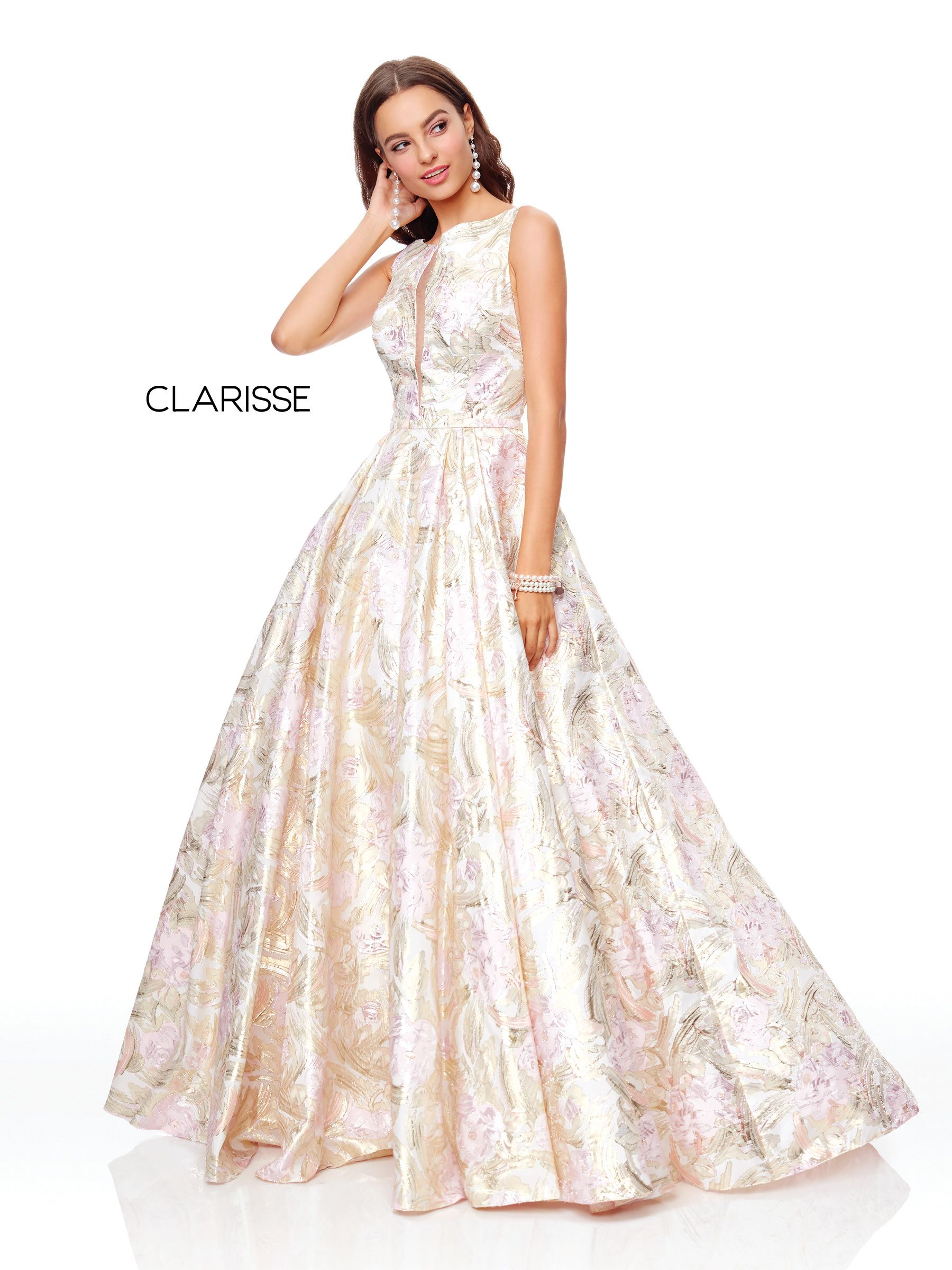 pink and gold floral print ball gown with mesh sides and a