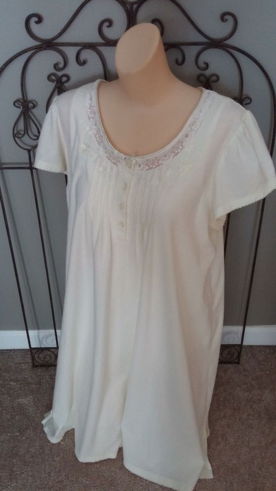 MISS ELAINE 3/4 Length Night Gown Short Flutter Sleeve Cotton Yellow ...