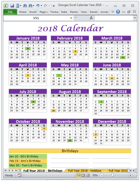 2018 calendar full year birthdays excel spreadsheet printable
