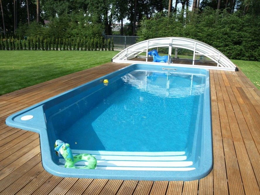 Small Above Ground Pools Designs With Wooden Deck Inground