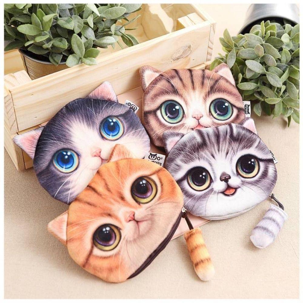 Purse Prints Purses Cute Plush Dog Cat 3D Coin Wallet Zipper Bag