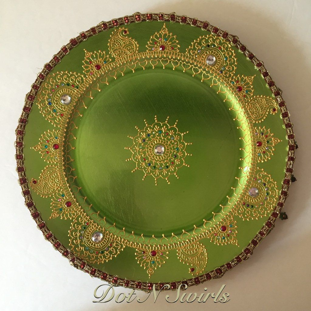 Handmade henna inspired decorated charger plate/Indian Pooja ...