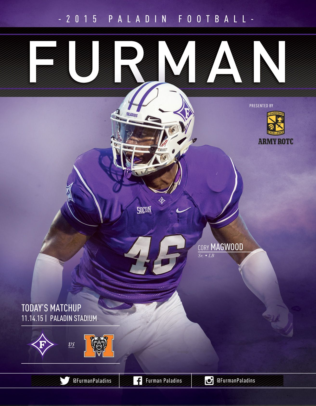 The Official Furman Paladins Football Roster Card Vs Mercer