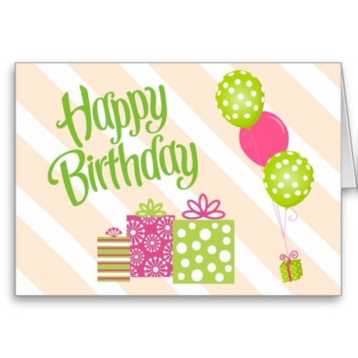 Special Girl S Pink And Green Birthday Card Zazzle Com Birthday Cards Pink Girl Personalized Birthday Cards