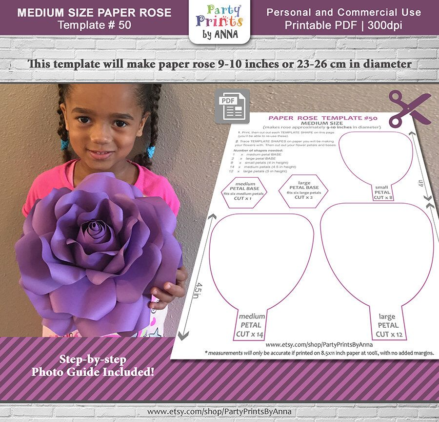 Paper Rose Template Printable Diy Medium Size