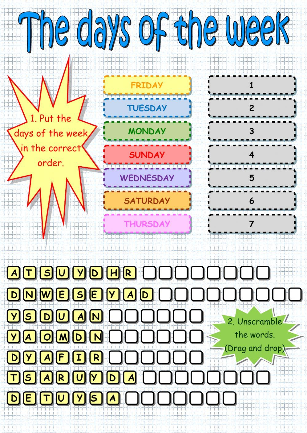 Days Of The Week Interactive And Downloadable Worksheet Check Your Answers Onl Learning Worksheets Kindergarten Worksheets English Worksheets For Kindergarten Number chart worksheets days
