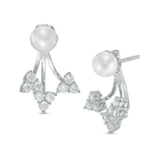 Zales 6.0-6.5mm Cultured Freshwater Pearl and Diamond Accent X Earrings in Sterling Silver Acktzk1