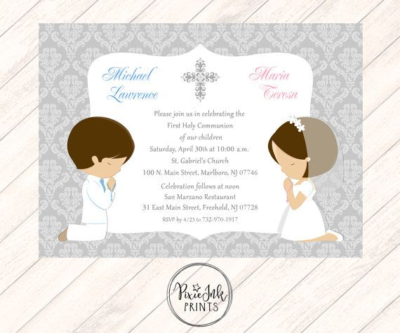 Twin Communion Invitation Grey Sibling 1st