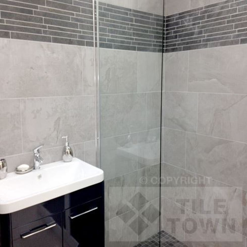 Edale Grey Bathroom Wall Tiles supplied by Tile Town. Discounted ...