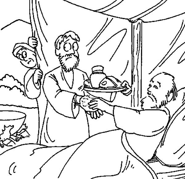 Jacob Bring food to Isaac in in Jacob and Esau Coloring