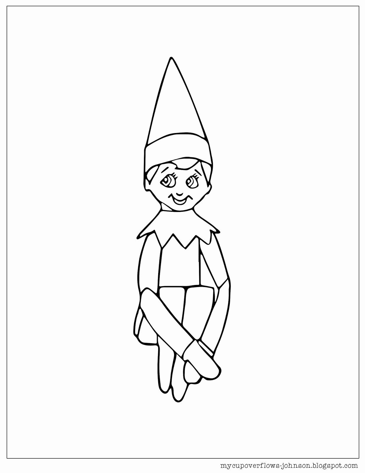 Elf On The Shelf Coloring Page New My Cup Overflows December 2017