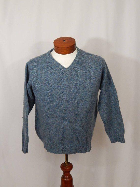 66df9eb68680 Vintage L.L.Bean Women s V Neck Sweater Pullover Blue Heather Purple ...