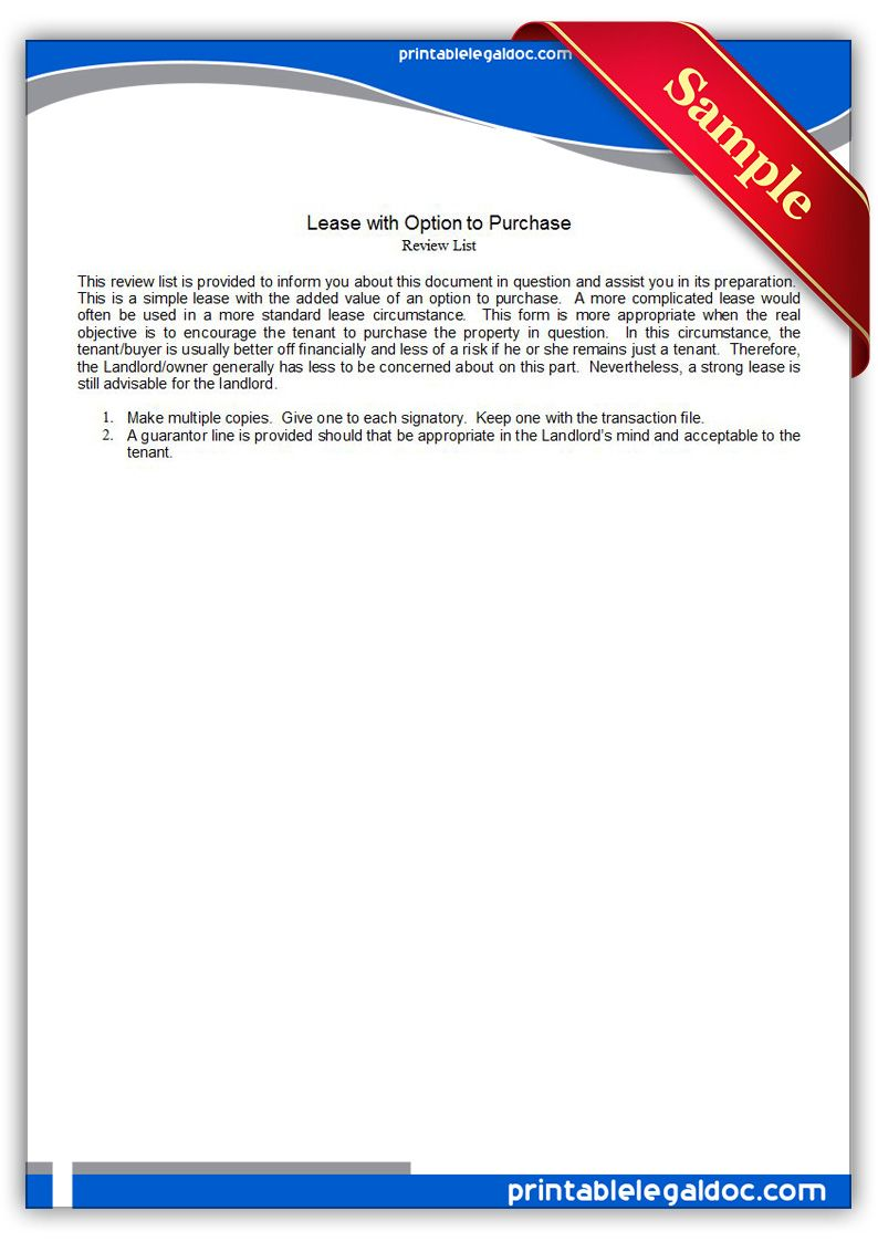 Free Printable Lease With Option To Purchase Sample Printable